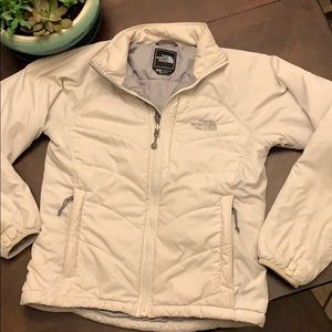 Women's north face white grey puffer jacket small
